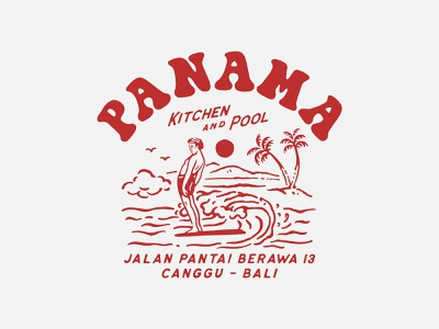 Design for Panama Kitchen & Pool, Canggu cmptrules vintage logo graphicdesign logo branding artwork handrawn vintage illustration