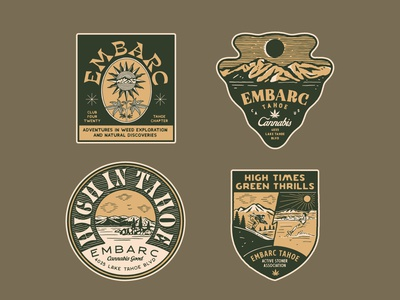 Sticker design for Embarc Tahoe hemp label design hempsticker hemp logo vintage logo handrawn vintage illustration