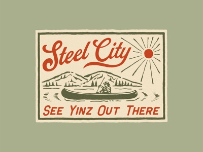 STEEL CITY BRAND vintage logo summertime summer illustration vintage handrawn
