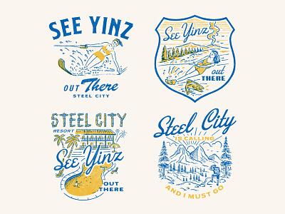 STEEL CITY, See Yinz Out There artwork vintage logo handrawn branding logo vintage illustration