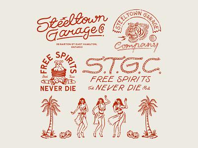 Steeltown Garage Co. vector logo vintage logo vintage branding handrawn illustration