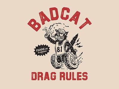 BADCAT logotype vintageart vintagedesign lettering vintage logo vector artwork cmptrules illustration vintage logo design handrawn branding