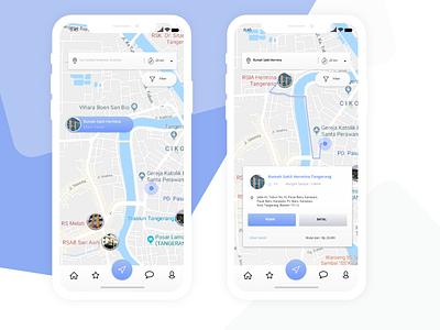 Geomedical - My Fourth UI Design maps hospital design iphonex app ux ui flat adobexd
