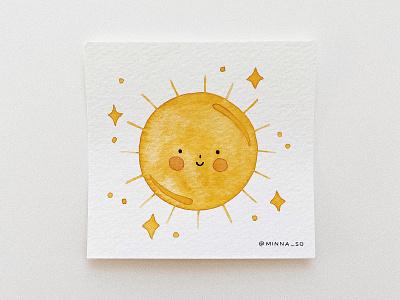 hello mister sunshine illustration art watercolor painting sunshine sun cute watercolor illustration watercolor