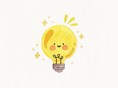 cute lightbulb watercolor lightbulb cute illustration