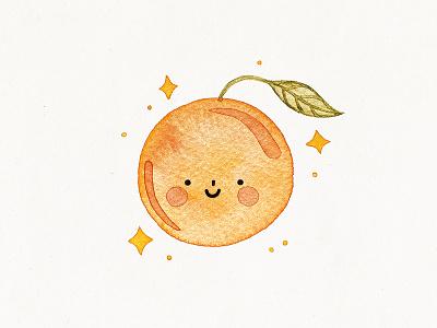 cute orange tangerine citrus orange watercolor cute illustration
