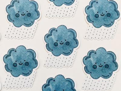 Happy Rain Cloud Decal Stickers stickermule sticker decal watercolor rain cloud illustration kawaii cute