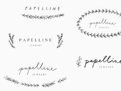 papelline jewelry / options logo proofs hand lettering script calligraphy illustration