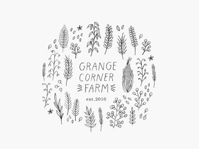 grange corner farm / proof no.1 logo proofs hand lettering illustration