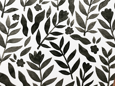 Ink pattern flowers plants drawing ink painting watercolor illustration