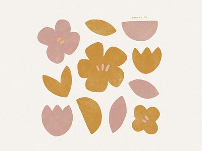 feels like summer flowers texture vintage shapes illustrations summer