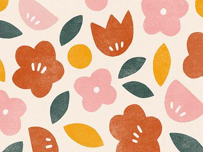 summer blooms flower illustration flower floral pattern block print