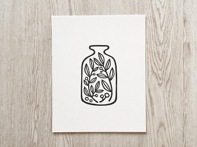 """Jar of Plants"" Linocut Art Print plant art print block print linocut"