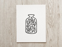 """Jar of Plants"" Linocut Art Print"