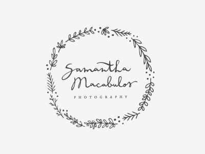completed logo in b+w logo proofs hand lettering script calligraphy illustration floral