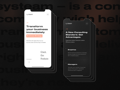 Systeam | Promo website for business consulting design promo creative ux clean mobile ui trendy business consulting typogaphy minimal concept ui
