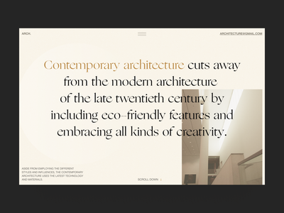 Blog article about Contemporary architecture interior blog page blog article architecture typography project modern art website design ux minimal concept ui