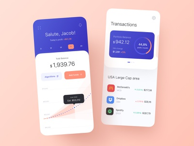 Investments with AI Algorithms Mobile App transaction funds stocks interface mobile app mobile statistic card app design chart investment algorithm portfolio fintech app fintech design ux concept ui