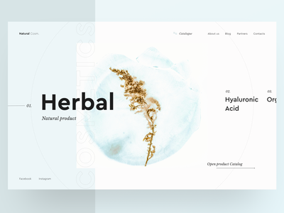Natural cosmetics makeup store herbal concept ecommerce minimal typography cosmetics web ux ui