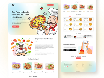 Resturant Landing Page design vector illustration website design branding design logo design 3d creative design glossier gradient mininal dashboard ui product design uidesign ui ux design typography illustrations landing page design mobile app food app restaurant landing page