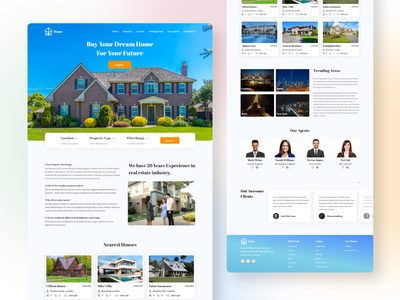 Real Estate Company Landing Page   Version 2 android ios redesign design mobile app design visual design product design ui ux design ui design branding illustration typography gradient creative landing page responsive real estate landing page