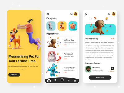 Pet Shop App Exploration trendy color minimal 3d mobile app design ui ux design uidesign vector branding illustration typography landing page cat app dog illustration petshop app