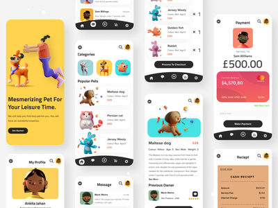 Pet Shop App 3d webdesign visual design product design petshop uiuxdesign uidesign app color minimal illustration ui creative gradient typography design landing page