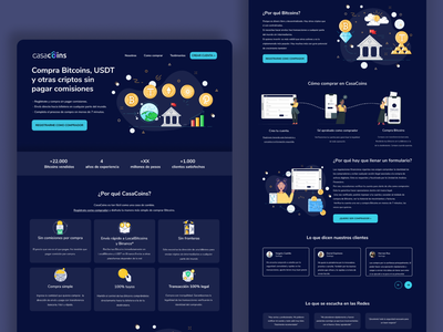Cryptocurrency Landing Page For Casacoin bitcoin wallet sketch figma ethereum crypto exchange cryptocurrency bitcoin exchange bitcoin ui ux design illustration ux ui design landing page