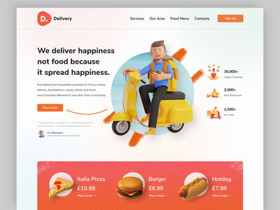 Food Delivery Company Landing Page food illustration vector creative design 3d illustration uiuxdesign ui ui  ux landing page design best website design website design delivery service food landing page delivery app food app