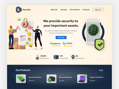 Security Product Maker Company Landing Page design 3d illustration logo creative typography visual design ui ux design ui company best website design web design landing page design product design security