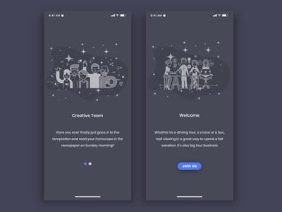 Team App Welcome Screen Dark