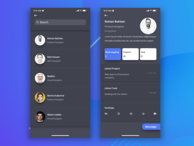 Team App Member Info Dark