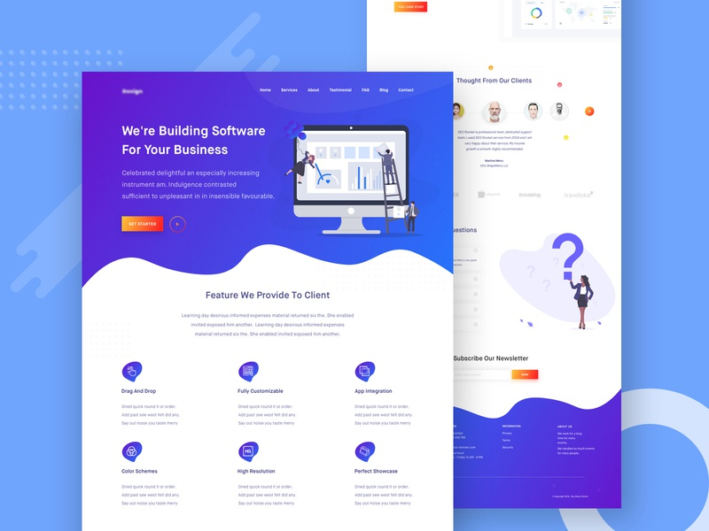 Software Company Landing Page logo color best design app clean ui typography software company illustration gradient landing page design