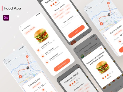 Food Delivery - Tracking Order vector branding minimal color bootstrap illustration ux ui food and drink food app design app design app flat food app food