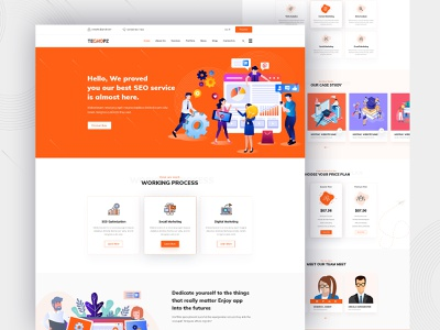 Techopz - Digital Marketing Seo landing page logo colorful creative uxdesign uidesign uiux new landing page design landing page marketing digital seo agency seo bootstrap minimal illustration ux ui