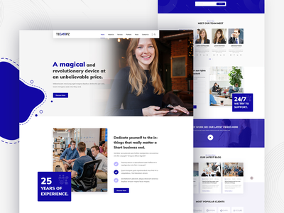 Techopz - Agency and business template landing page agency design uiux template business website minimal bootstrap illustration ux ui