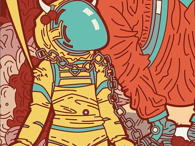 The Devil in Space 2 davis kaylee poster adobe illustrator illustration retro sci-fi tarot