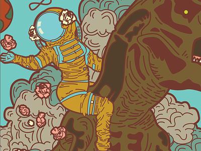 The Strength in Space davis kaylee poster adobe illustrator illustration retro sci-fi tarot