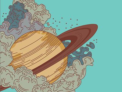 Saturn Background Element davis kaylee poster adobe illustrator illustration retro sci-fi line work