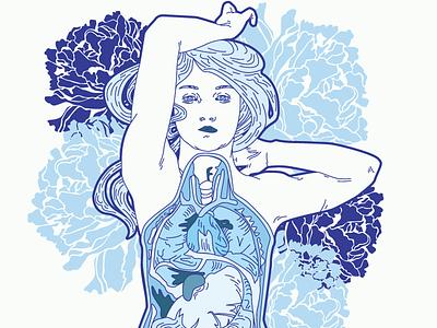 Mermaid Autopsy Pattern (Detail) davis kaylee art newvo detail pattern mermaid illustrator illustration