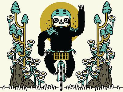 The Slow Rider sloths line davis kaylee vector illustrator illustration bikes bike sloth
