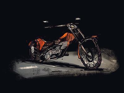 Chopper sketch art illustration bike chopper motorcycle