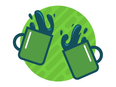 Coffee Date mugs party icon illustration coffee