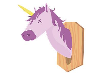 Mounted Unicorn legend horse mount taxidermy majestic pink vector illustrator illustration unicorn