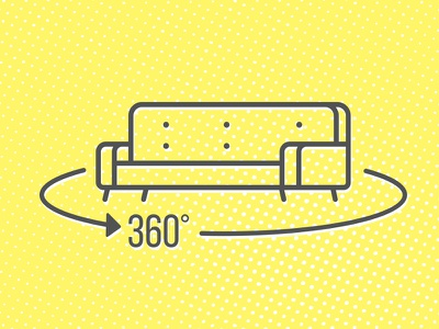 Rotate Furniture Icon 360 view 360 degrees icon rotate illustration couch sofa furniture 360