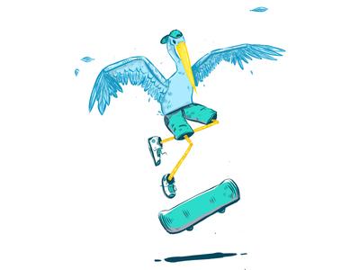 Crane Skateboard vector art ipencil adobe illustrator bird illustration art vector
