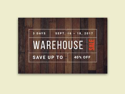 Warehouse Sale typography graphic design typeset design sale warehouse promotion postcard marketing mailer