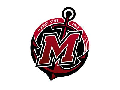 "Hockey club ""Mariupol"" soccer hockey logo sport logo sport branding anchor sport sea illustration logo hockey design"