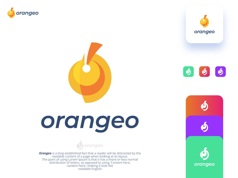 Orangeo juice brand logo Exploration juice orange food flat grid gloden ratio branding identity design fruit logo