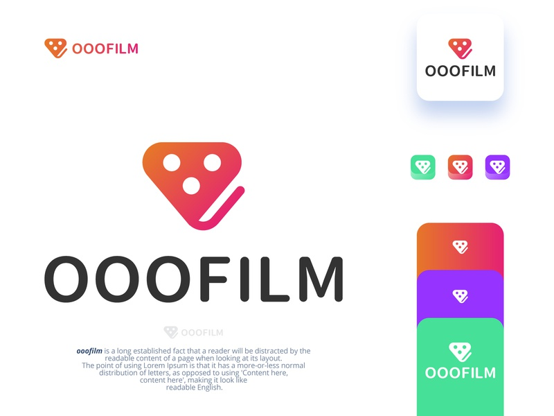 OOOFILM For Movie App Logo flat grid gloden ratio icon illustrator color blockchain technology software application desktop business agency service branding identity design logo identity icon hexagon cube branding blockchain app 3d
